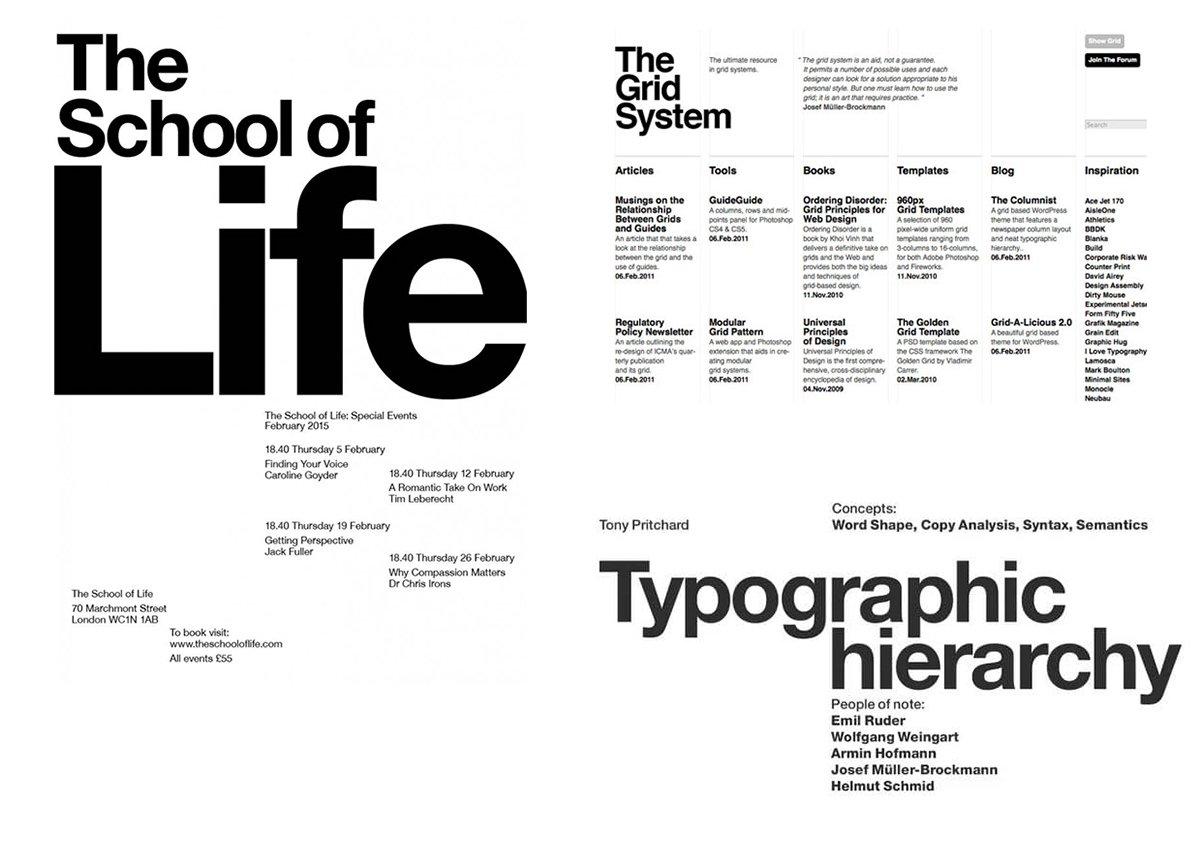 иерархия шрифтов