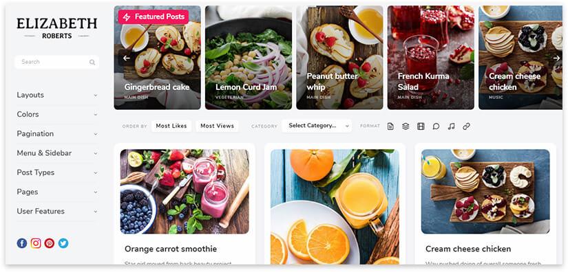 pluto шаблон для кулинарного блога