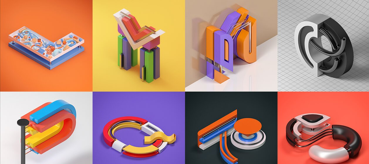 Типографика с 3d
