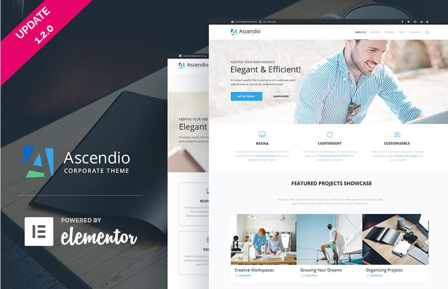 WordPress шаблон Ascendio для бизнес-сайта