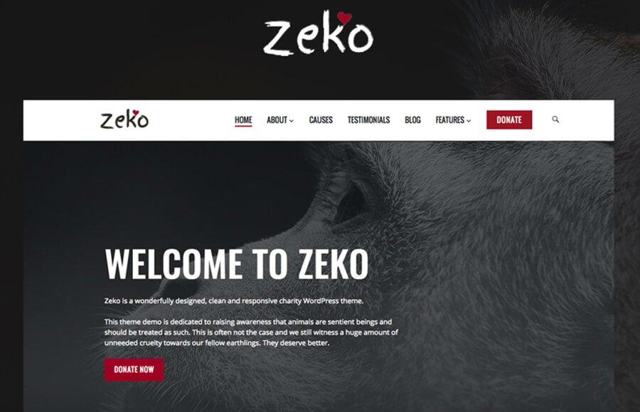 Zeko тема для сайта на тему животные
