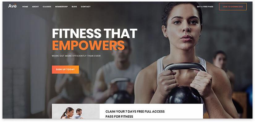 30 шаблонов сайта для спорта, фитнеса, клуба, тренера на WordPress 2019
