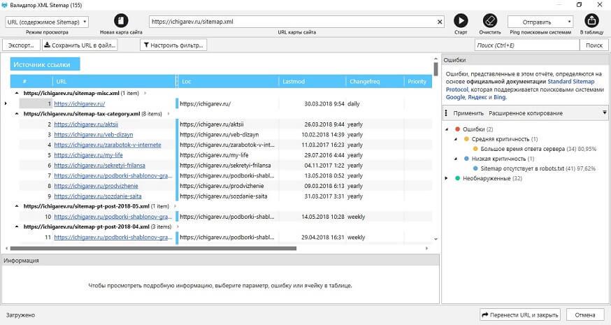 Валидатор XML Sitemap