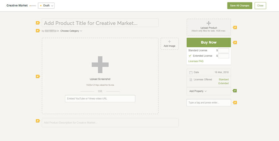 загрузка шаблона на creativemarket