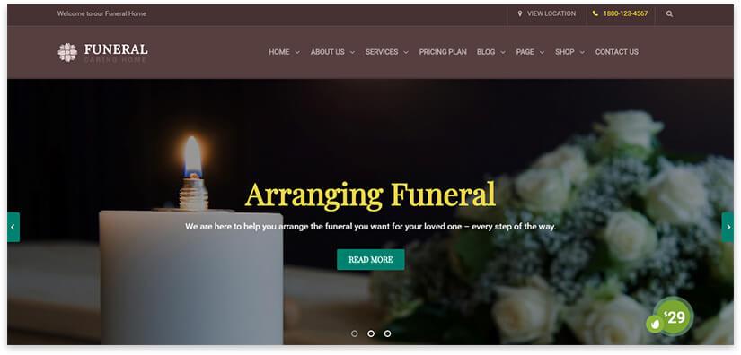 Шаблон сайта похороны
