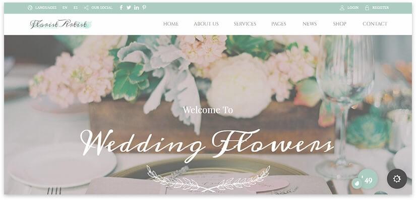 шаблон сайта свадебных цветов