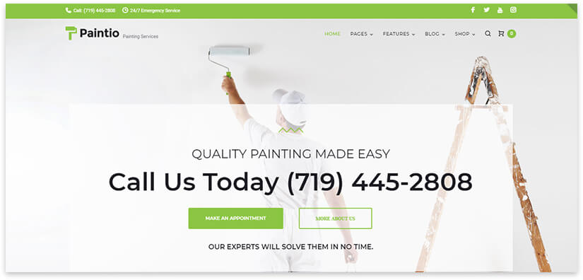 покраска стен шаблон сайта