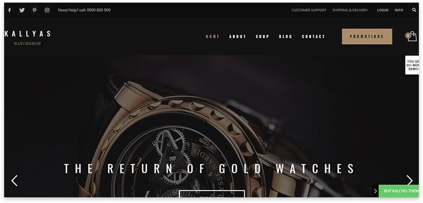 Шаблон сайта магазина часов