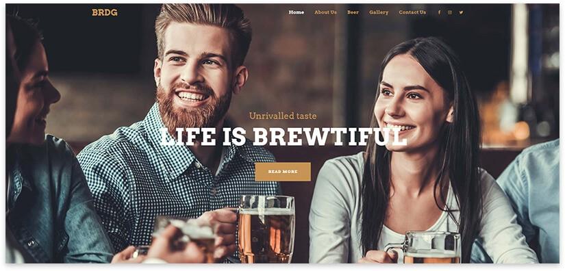 Lounge бар шаблон сайта