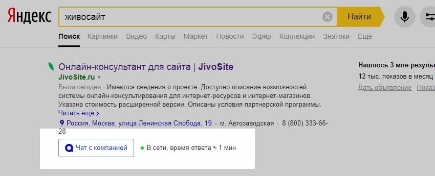 Пример формы чата в поиске Яндекса