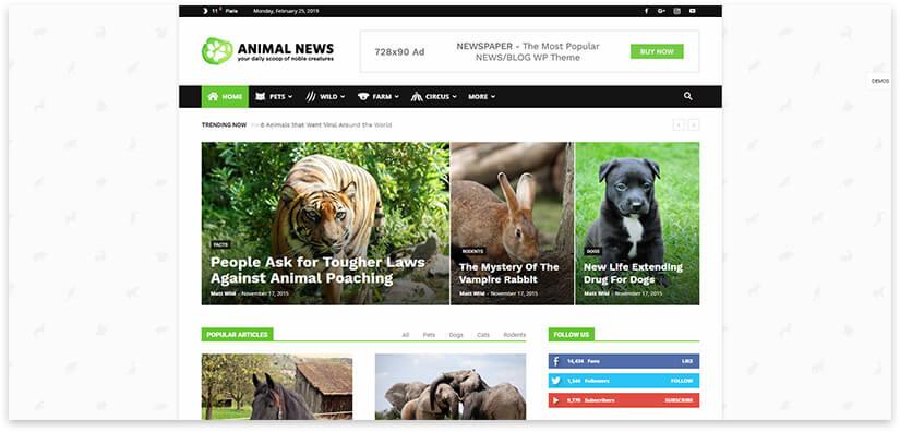 Блог про животных шаблон