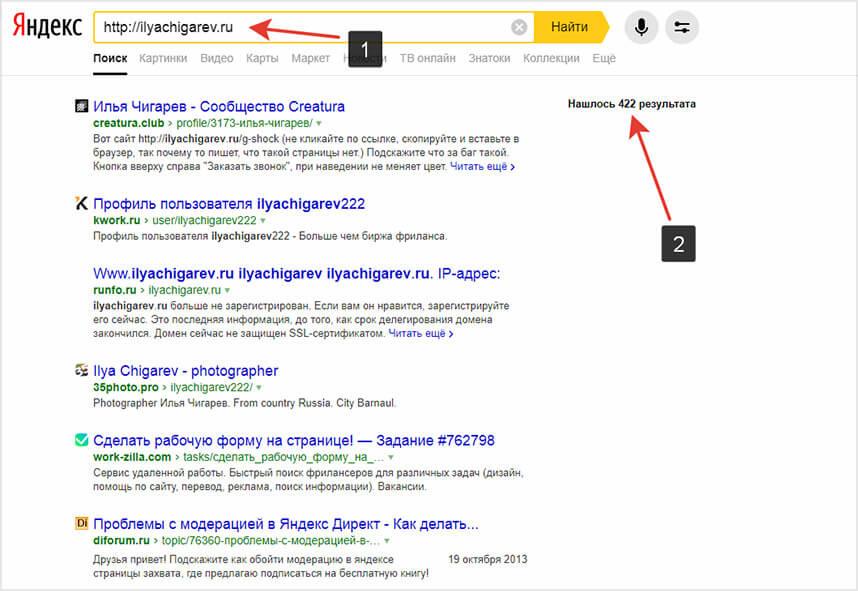 Проверка домена через поиск