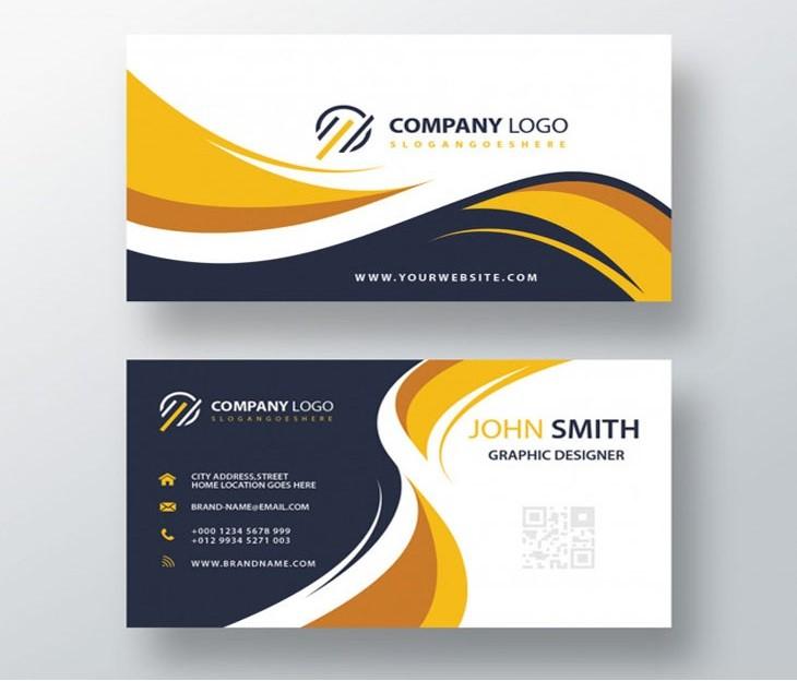 Beautiful modern yellow business card Free Psd