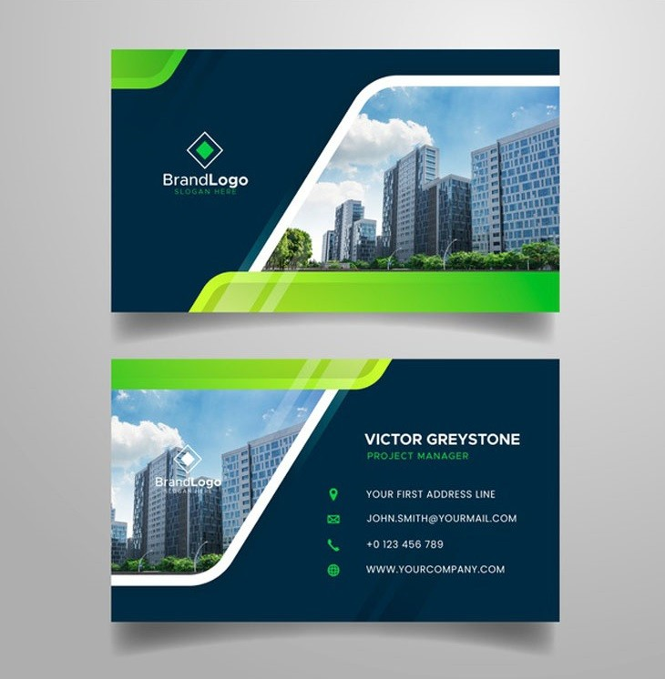 Abstract business card with modern shapes and picture Free Vector