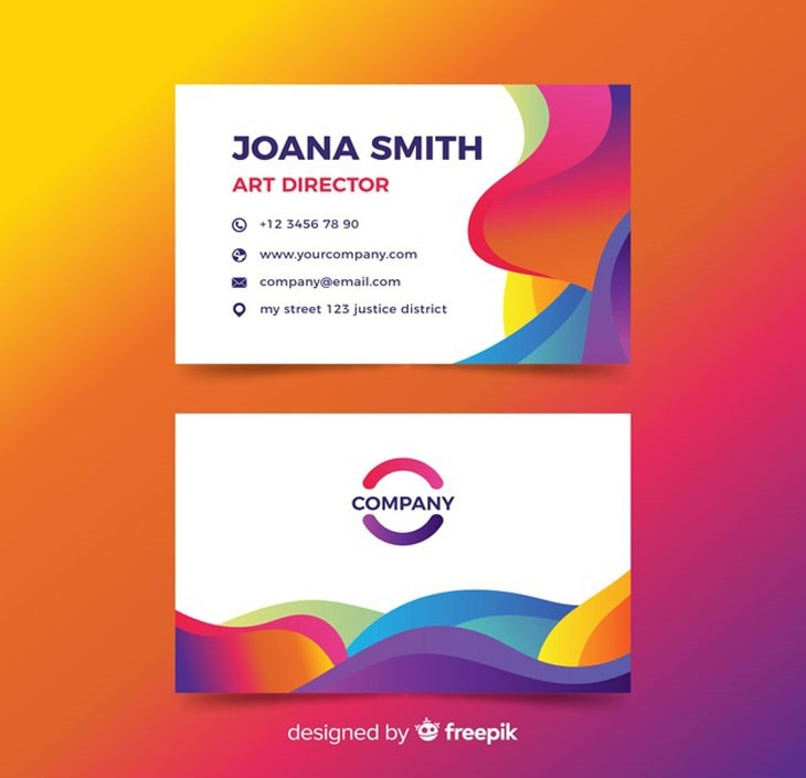 Business card with abstract design Free Vector