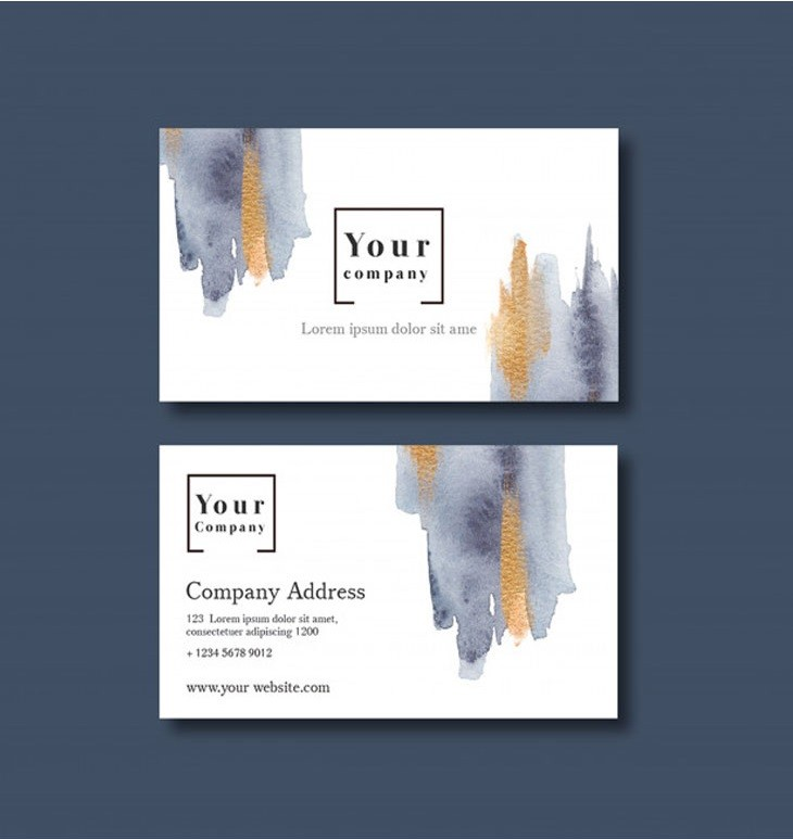 Business card template with watercolor brustrokes Free Psd