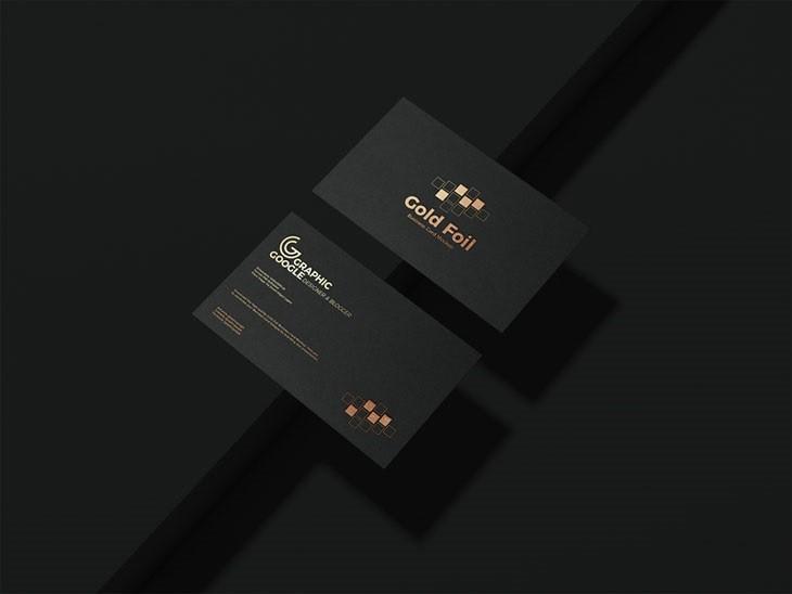 Free Gold Foil Business Card Mockup PSD Vol 2