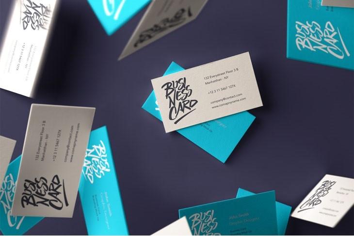 Falling Psd Business Card Mockup 3
