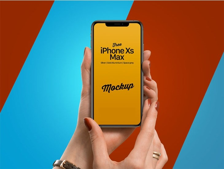 Free iPhone Xs Max in Female Hand Mockup