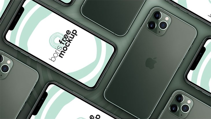 Free PSD flatlay of iPhone 11 Pro Max mockup