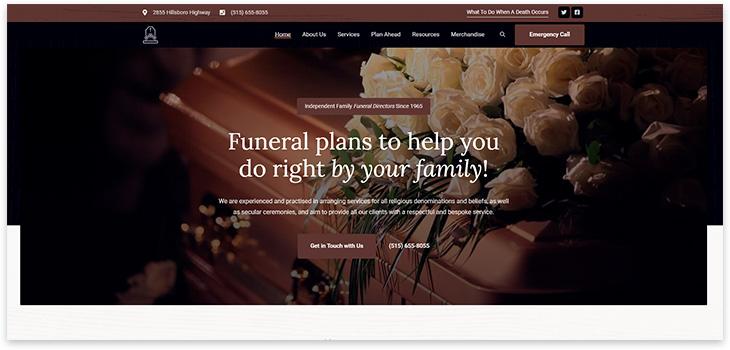 Шаблон сайта ритуальных услуг