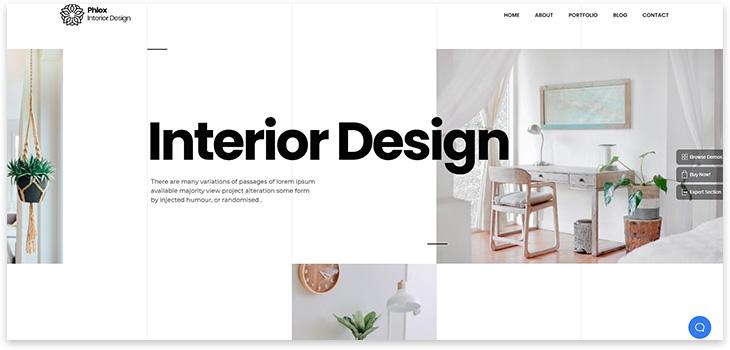 Шаблон сайта дизайна интерьера