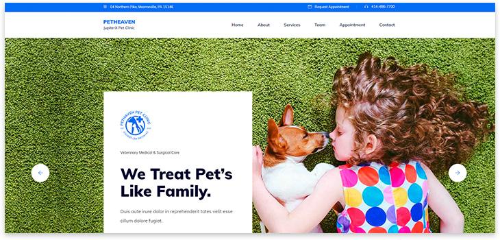 шаблон сайта про животных