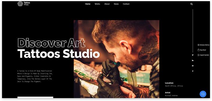 Шаблон сайта тату студии
