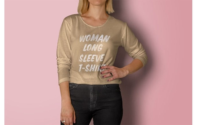 Psd Woman Long Sleeve T-Shirt Mockup