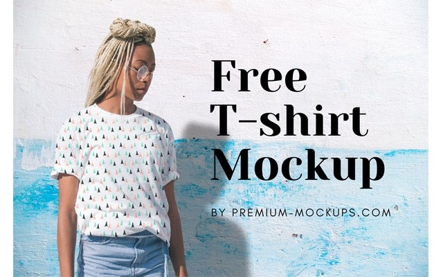 Free Female T-shirt Mockup with Changeable Background