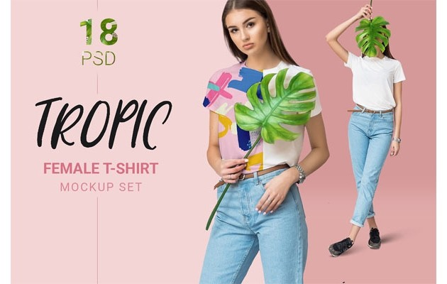 Female t-shirt mockup set + free demo mockup