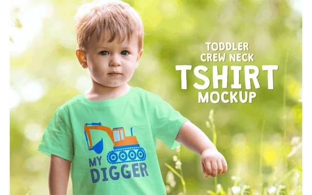 Toddler Boy Crew Neck T-shirt Mock-up