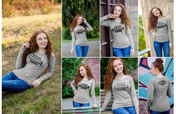 10 Women's Heathered Long Sleeve Shirt Mockups