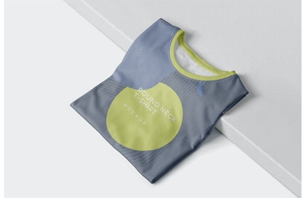 Folded Round-Neck T-Shirts Mockups