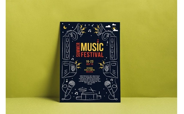 Music festival poster mockup Free Psd