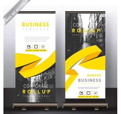 Roll up banner with yellow ribbon detailed Free Vector