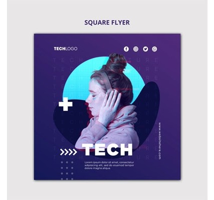 Tech & future square flyer concept template Free Psd
