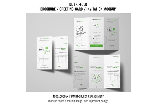 Three trifold brochure or invitation mockups Free Psd