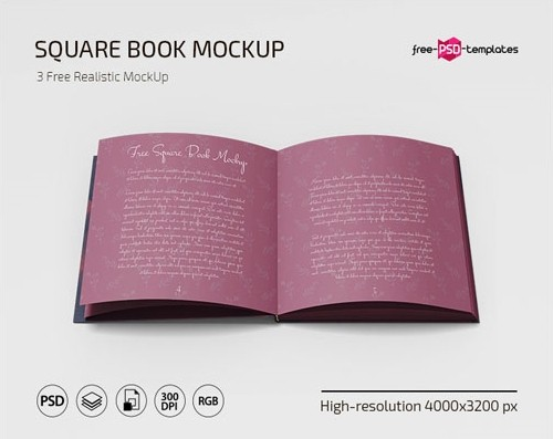 FREE PSD SQUARE BOOK MOCKUP TEMPLATES