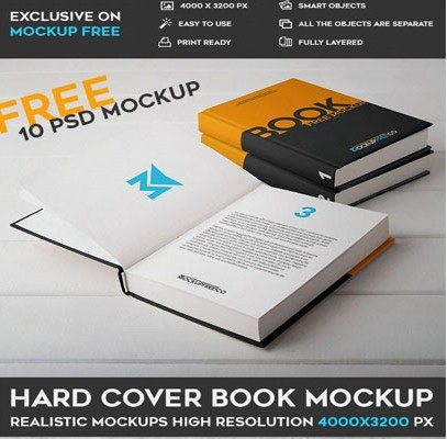 HARD COVER BOOK – 10 FREE PSD MOCKUPS
