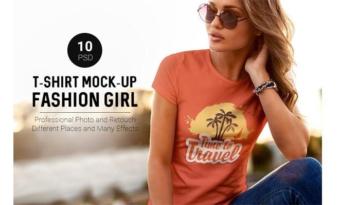 Футболка Mock-Up Мода Девушка