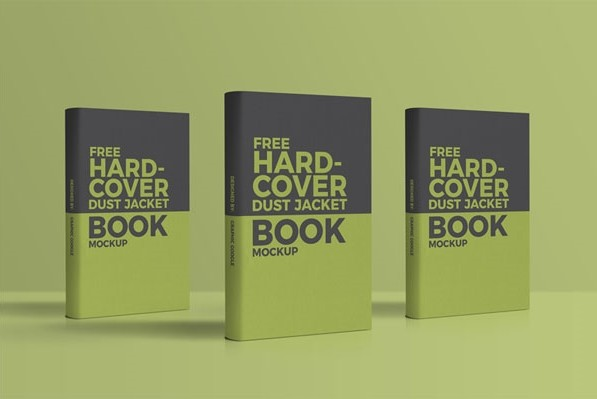 Free Hardcover Dust Jacket Book PSD Mockup
