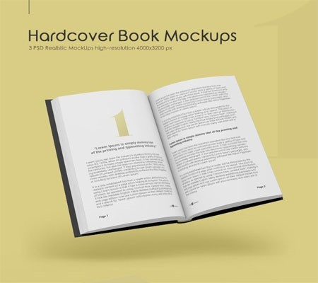 3 FREE HARDCOVER BOOK MOCK-UPS IN PSD