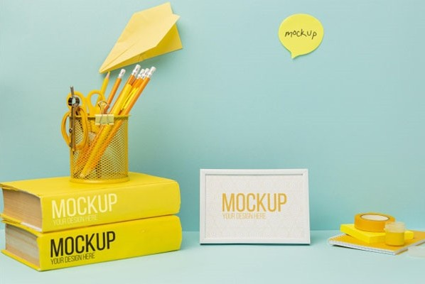 Stationery minimal desk with mock-up