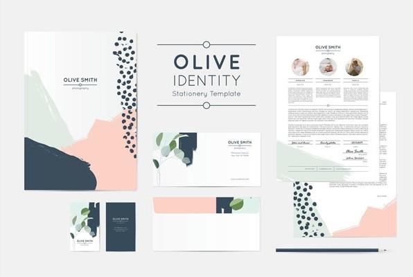 Оливковое удостоверение Канцелярские Шаблон