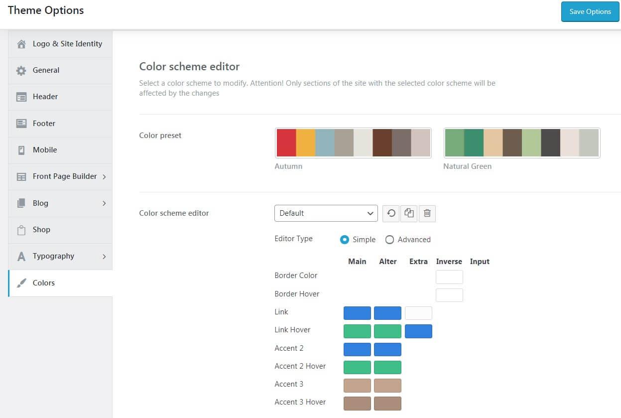 Настройка цветовой схемы сайта